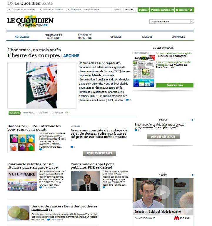 Animation du site lequotidiendupharmacien.fr